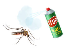 Anti mosquito spray. Realistic mosquito with insect repellent spray in dengerous diseases prevention concept vector illustration Royalty Free Stock Photography
