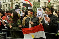 Anti-Mubarak demonstration, London Royalty Free Stock Photos