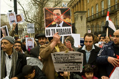 Anti-Mubarak demonstration, London Stock Images