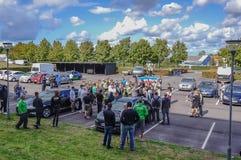 Anti-muslimdemonstation av den danska Stramen Kurs och Rasmus Pal royaltyfria bilder