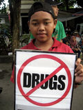 Anti narcotics campaign. Activists held anti-narcotics campaign in a public space in the city, Central Java, Indonesia royalty free stock images