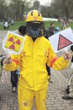 Anti nuclear demonstration. In Sapporo in Hokkaido, Japan Stock Photo