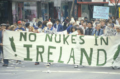 Anti-nuclear energy marchers protesting with banner, Los Angeles, California Stock Photos