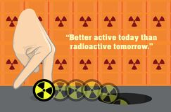 Anti-Nuke Anti-Nuclear Radioactive Illustration. Illustration of a hand kicking the radioactive symbol into a hole Royalty Free Stock Photos