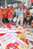 Anti-occupez le rassemblement de mouvement en Hong Kong Photographie stock