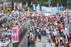 Anti-Occupy Movement Rally in Hong Kong. The anti-Occupy campaign had achieved something Beijing has been unable to do so in recent years - rallying the divided royalty free stock image