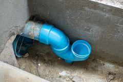 Anti odor U trap sewer pipe of the house. For protect bad smell Stock Photos