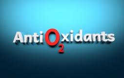 Anti-oxyderend woord dat in witte brieven op blauwe achtergrond wordt geschreven royalty-vrije illustratie