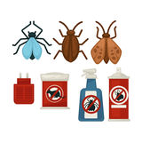 Anti pests warning signs on products and insects above Stock Image