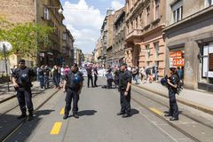 Anti police d'émeutes en Croatie Images libres de droits
