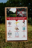 Anti pollution sign. With explanations of time that use the various elements to be consumed in nature Stock Photos