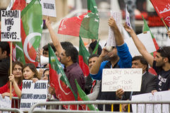 Anti-president demonstartion. Pakistani opposition protests against President Zardari in Birmingham, 07/08/2010 stock photography