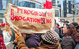 Anti-Prorogation Rally in Toronto Stock Image