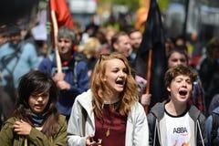 Anti protesta dei tagli a Londra Fotografie Stock