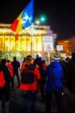 Anti protestataires de gouvernement à Bucarest, Roumanie Photo libre de droits