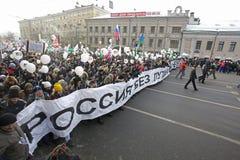 anti putin för marschmoscow personer som protesterar Royaltyfri Foto