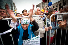 Anti-Putin protest i central i Moscow Arkivfoto