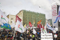 Anti-Putin protesters march through Moscow Stock Images