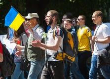 Anti réunion de Poutine à l'appui de l'unité d'Ukraines Photo libre de droits