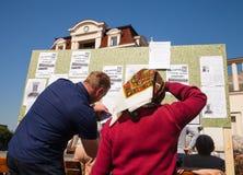 Anti réunion de Poutine à l'appui de l'unité d'Ukraines Image libre de droits