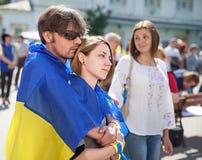 Anti réunion de Poutine à l'appui de l'unité d'Ukraines Images libres de droits