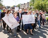 Anti réunion de Poutine à l'appui de l'unité d'Ukraines Image stock