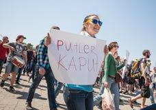 Anti réunion de Poutine à l'appui de l'unité d'Ukraines Images stock