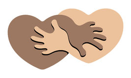 Anti Racism. An Abstract Symbol for Anti Racism Figuring Two Hearts Holding Each Other Stock Photography