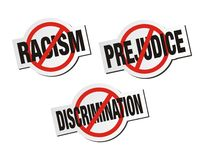 Anti racisme, anti préjudice, anti signe d'autocollant de discrimination illustration de vecteur