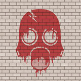 Anti raditaion mask draw in brick wall Stock Photography