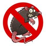 Anti rat sign. Anti pest sign with a funny cartoon rat Stock Photos
