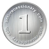 Anti-recessionary coin. Illustration of international anti recessionary coin for world Stock Image