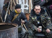 Anti--regering protester i mitten av Kiev Fotografering för Bildbyråer