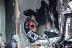 Anti--regeringen protesterar utbrottet Ukraina Royaltyfri Bild