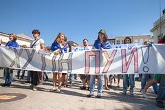 Anti riunione di Putin a sostegno dell'unità di Ukraines Fotografia Stock