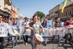 Anti riunione di Putin a sostegno dell'unità di Ukraines Immagini Stock