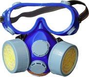 Anti-rookmasker om de blauwe ogen tegen de vochtige houten achtergrond te beschermen Behoud-professionele restauratie stock afbeeldingen