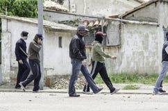 anti sammandrabbninggruvarbetare förser med polis tumult Royaltyfria Bilder