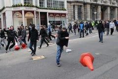 Anti-Schneiden Protest in London Lizenzfreie Stockfotos