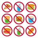 Anti-schnelle Nahrungsmittelzeichen Stockfotografie