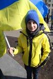 Anti separatism rally and honoring Taras Shevchenko in march 9, 2014.  Ukraine, Kharkiv. Rally to mark the anniversary the birth of the Ukrainian national poet Stock Image