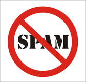 Anti signe de Spam Images libres de droits