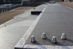 Anti Skateboarding Studs. Deterrent studs to stop skateboarders and bikers Royalty Free Stock Photo