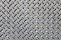 Anti slip gray metal plate with diamond pattern Stock Images