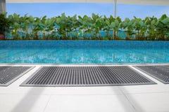 Anti-slip rubber mat. Beside children swimming pool. Concept of children safety precaution item stock image