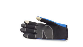 Anti slip touch screen blue and black glove for winter Stock Photo
