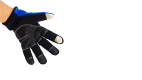 Anti slip touch screen blue and black glove for winter Royalty Free Stock Images
