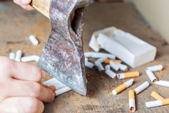 Anti-smoking background. Chopped cigarettes Royalty Free Stock Photos