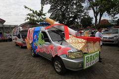 Anti-smoking campaign. A car decorated with a picture of anti-smoking campaign in solo Stock Image