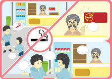 Anti smoking campaign cartoon Royalty Free Stock Images